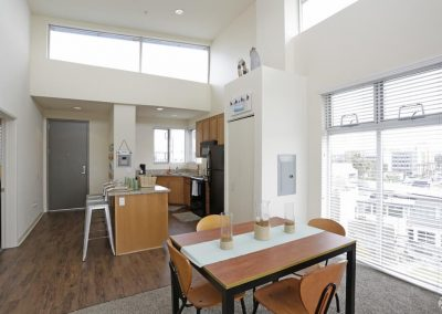 Kitchen and Dining Area of an Apartment at Paseo Place