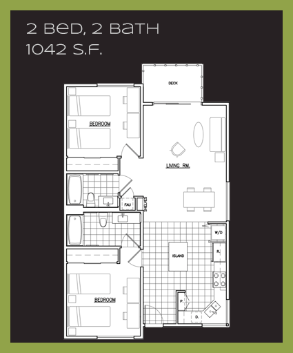 A1 floor plan, 2 bedrooms, 2 bathrooms, 1,042 sq. ft.