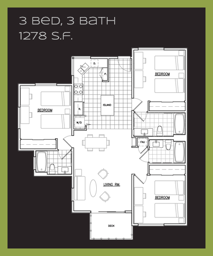 B1 Floor Plan, 3 Beds, 3 Baths
