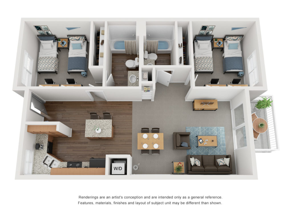 Artists conceptual rendering of a single story with two bedrooms, two bathrooms, depicting two beds per room, open layout kitchen and living, and a fenced patio.
