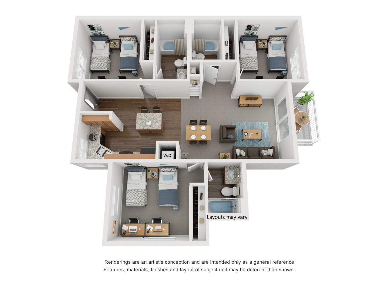 Artists conceptual rendering of a single story, three bedrooms, three bathrooms, depicting two beds per room, open layout kitchen and living, with a fenced patio.