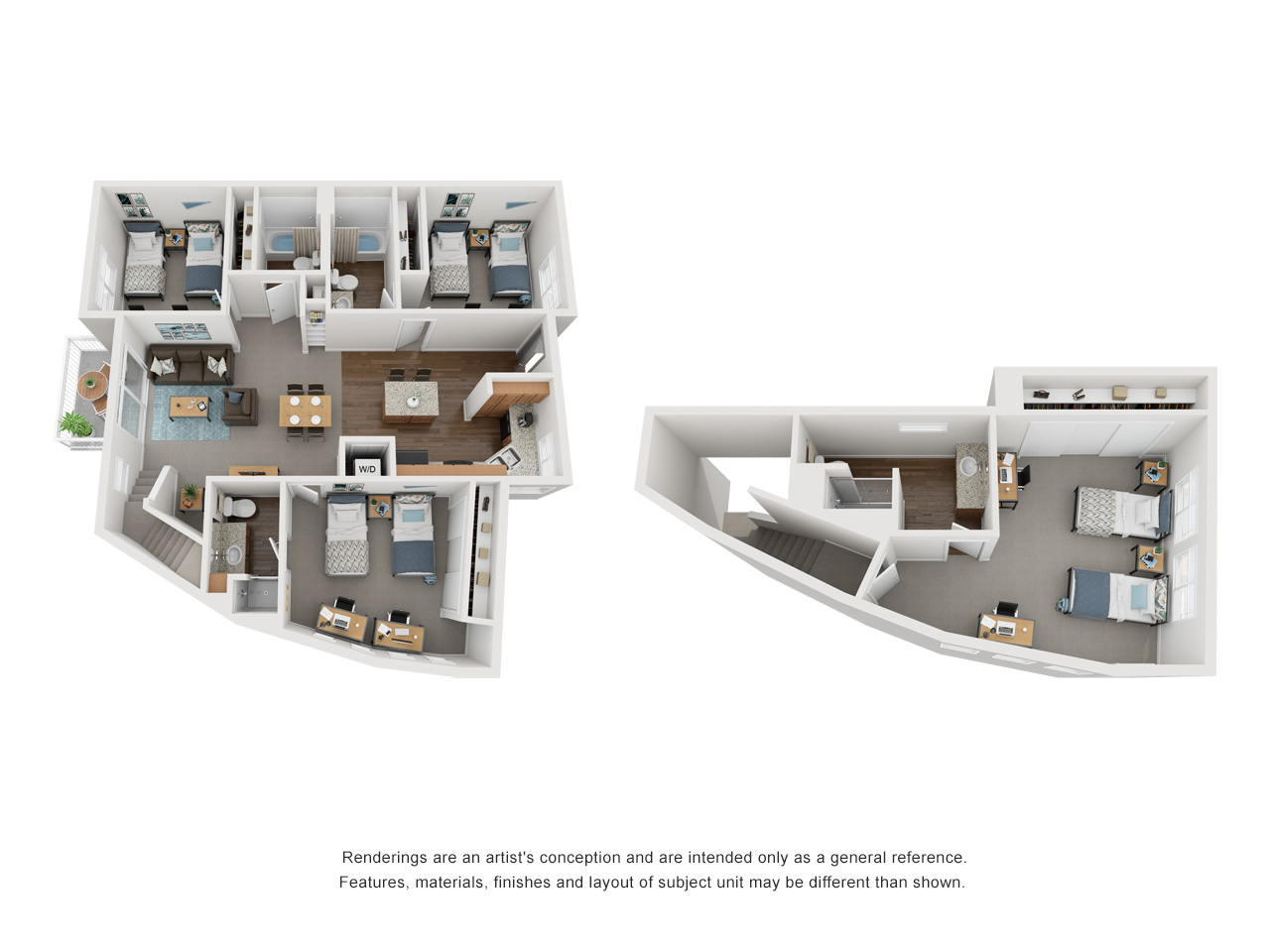 Artists conceptual rendering of a two story 4 bedrooms (three on 1st floor, one on 2nd floor), 4 bathrooms, depicting 2 beds per room, open layout kitchen and fenced patio..